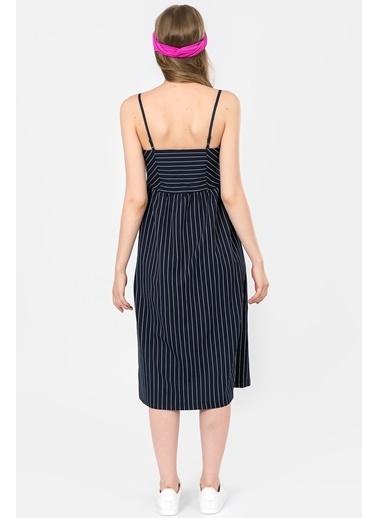 İroni Önden Düğmeli Çizgili Midi Elbise Lacivert